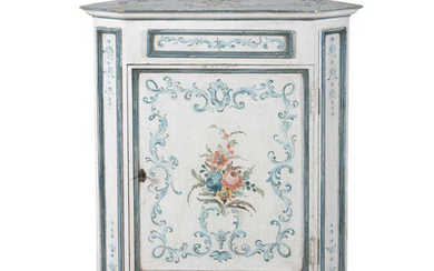 AN ITALIAN WHITE PAINTED TIMBER CORNER CUPBOARD, hand-painted...