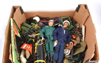Action Man by Palitoy, including two figures and accessories.