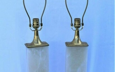 Alabaster and solid Brass Lamps , Mid-Century Modern .