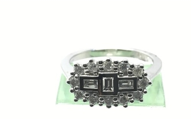 An 18ct white gold diamond 'boat shaped' cluster ring, appro...