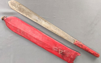 Antique bush knife, blade slightly flared to the bottom, tapered, double-edged, leather handle, red