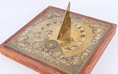Bronze sundial with Roman numerals for the hours and Arabic...