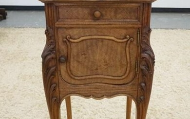 CARVED VICTORIAN MARBLE TOP NIGHTSTAND