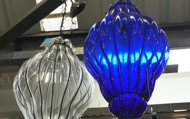 CEILING LIGHTS, two, one clear and another blue tinted glass...