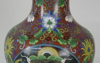 Chinese Cloissone Dragon Decorated Vase, Qing Dynasty