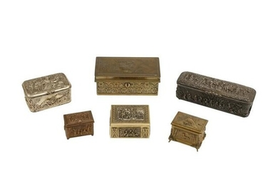 Collection of Six Repousse Boxes.