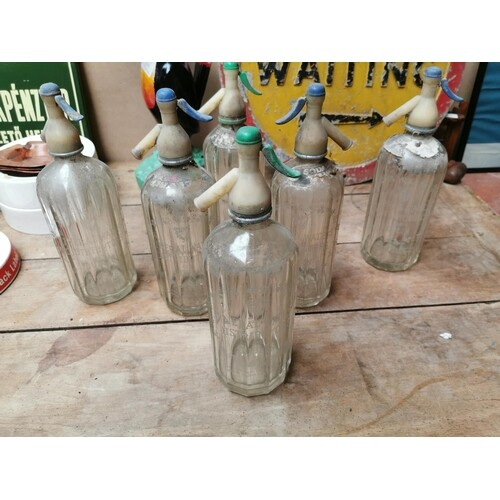 Collection of six early 20th C. Dublin mineral water soda sy...