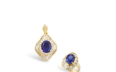 DIAMOND, SYNTHETIC SAPPHIRE AND GOLD RING AND PENDANT