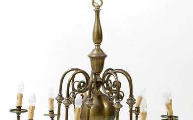 Dutch style ceiling lamp in gilded metal.