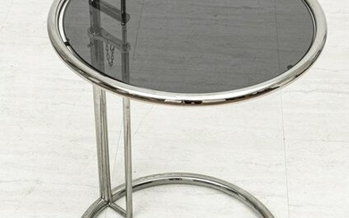EILEEN GRAY CHROME AND GLASS OCCASIONAL TABLE