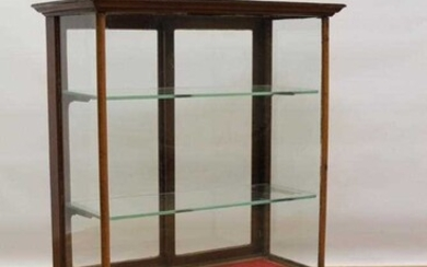 Eearly 20th century mahogany shops display table top cabinet, bearing retailers plaque for O. C. Hawkes Ltd., Birmingham