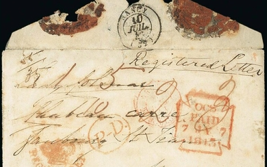 Europe Mail from the United Kingdom 1/- Registration Fee 1843 (7 July) envelope to Nancy