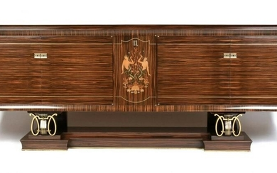 FRENCH ART DECO EXOTIC WOODS MARQUETRY MACASSAR