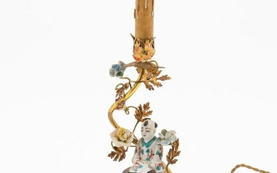 FRENCH GILT BRONZE MOUNTED FIGURAL PORCELAIN LAMP