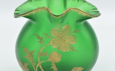 """François Théodore Legras - """"Thai"""" shape vase - Glass with green background and gilding"""
