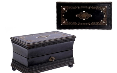 (-), Blackened wooden box with brass and mother-of-pearl...