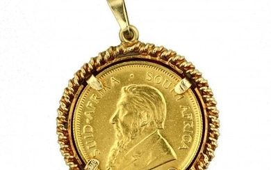 Gold and KRUGERAND Coin Pendant