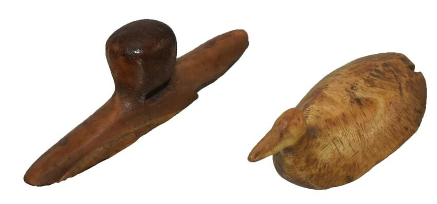 """Group of Inuit artifacts Labret, Toy Duck. 1 7/8""""-2""""."""