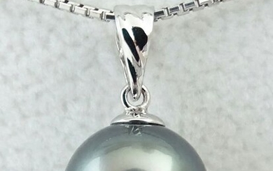HS Jewellery - Tahitian Pearl, Rikitea Pearl, Teal Blue, Round, 11.04 mm - 18 kt. White gold - Pendant - No Reserve Price