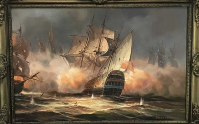 James Hardy, 20th century, Broadside, a Naval Sea Battle by Night, signed, oil on canvas laid on board