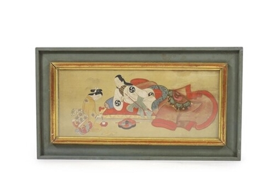 Japanese School, Edo period, painting on silk of a noble lad...