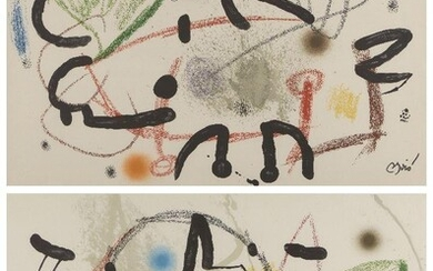 Joan Miró, Spanish 1983-1983- Maravillas con Variaciones Acrosticas en El Jardín de Miró (Plate 13 and 17), 1975; two lithographs in colours on wove, each with stamped signature, from the unnumbered edition of 1500, published by Poligrafa...