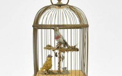 LARGE ANTIQUE AUTOMATON BIRDCAGE