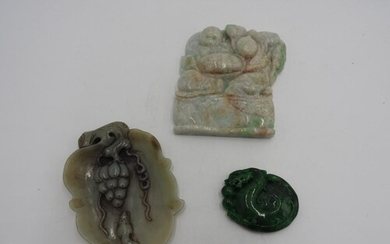 LARGE JADEITE CARVED PANEL 20TH CENTURY together with a SMAL...