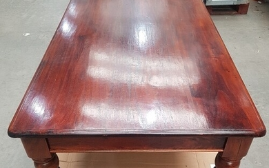 Large Mahogany Dining Table with 6 Lyre-Back Dining Chairs (...