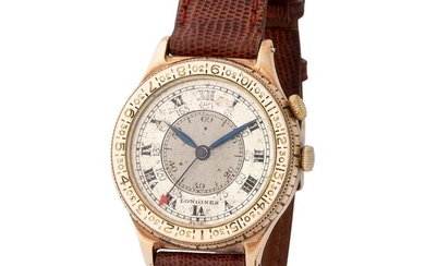 """Longines. Historically Important and Very Rare """"Lindbergh"""" Aviator's Hour Angle Gentleman's Wristwatch in 10k Yellow Gold, With Two-Tone Silver Dial"""