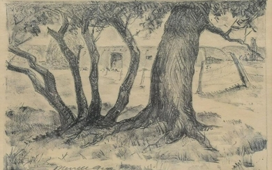 MERRELL GAGE LITHOGRAPH COTTONWOODS AND ADOBE