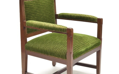 Mahogany armchair with fabric upholstery, design Jac.van den Bosch for...