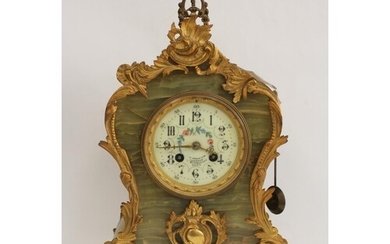 Mantel clock by Marti, Paris, with florally decorated dial i...
