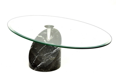Marble coffee table with rotatable oval glass top, design &...