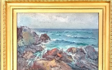 Mixed media painting depicting a rocky coastal scene in a gi...