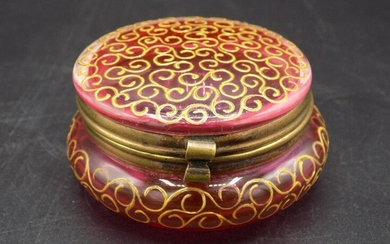 Nicely decorated cranberry jewelry box.