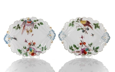 PAIR OF 18TH C CHELSEA MOULDED PORCELAIN DISHES