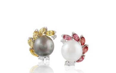 *PAIR OF CULTURED PEARL, QUARTZ, DIAMOND AND GOLD EARRINGS