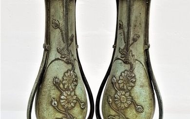 PAIR OF EARLY 20TH CENTURY FRENCH SPELTER VASES in the Art N...