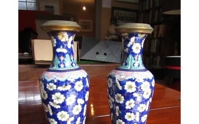 Pair of Antique Cloisonne Decorated Vases Shaped Form Each A...