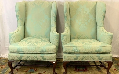 Pair of Baker Chippendale-style Wing Chairs
