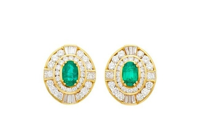 Pair of Gold, Emerald and Diamond Earrings