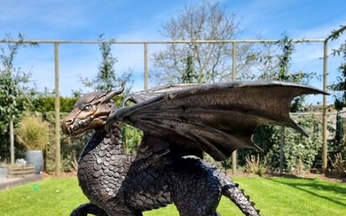 Picture - Dragon - Patinated bronze - recent