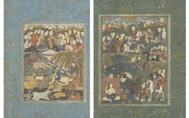 Property from an Important Private Collection Two Safavid-style illustration depicting Layla wa Majnun, Iran, 19th/20th century, opaque colours with gold on paper, the reverse with four vertical columns of neat black nasta'liq, in painted wood...