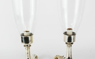 Silver Candlestick Lamps with Hurricane Shades