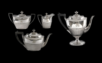 Silver Plated Tea & Coffee Service, Spurrier & Co. Comprising tea & coffee