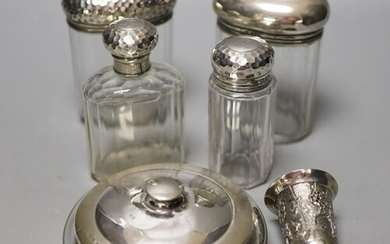 Six assorted silver mounted glass toilet jars, including a p...