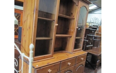 Solid Pine Triple Dresser with Glazed Doors to Top.