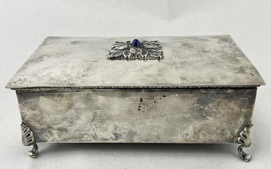 Sterling Silver Velvet Footed Jewelry Box