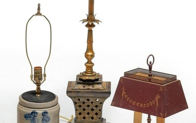 THREE TABLE LAMPS.